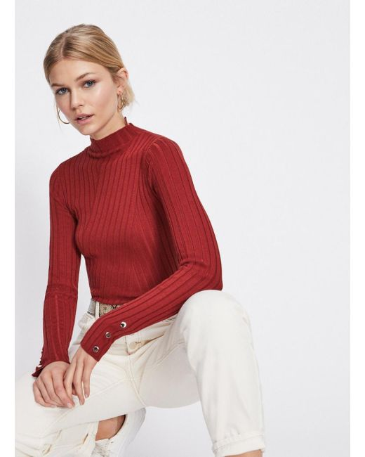 c1efb52b75ac Miss Selfridge - Red Rust Funnel Neck Popper Knitted Top - Lyst ...