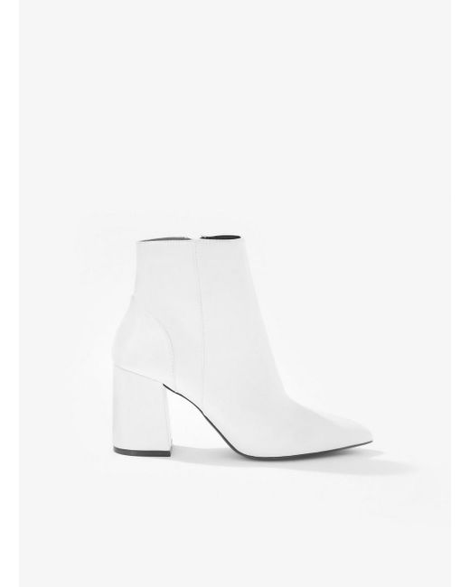 Miss Selfridge - Azar White Patent Zip Up Boots - Lyst