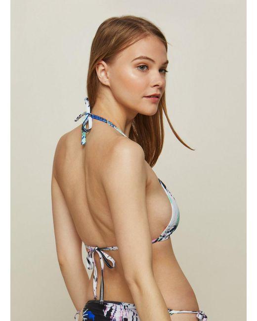 554d23345bbd9 ... Miss Selfridge - Multicolor Wolf   Whistle 80s Palm Print Triangle  Bikini Top ...