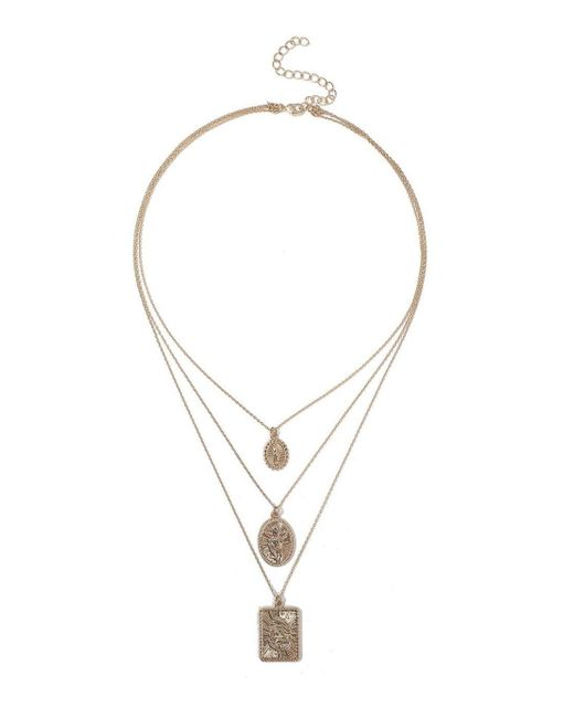 Miss Selfridge - Metallic Layered Coin Necklace - Lyst