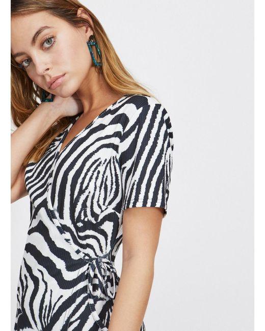 256d8b2cf7 ... Miss Selfridge - Petite Black Zebra Print Ribbed Wrap Dress - Lyst ...