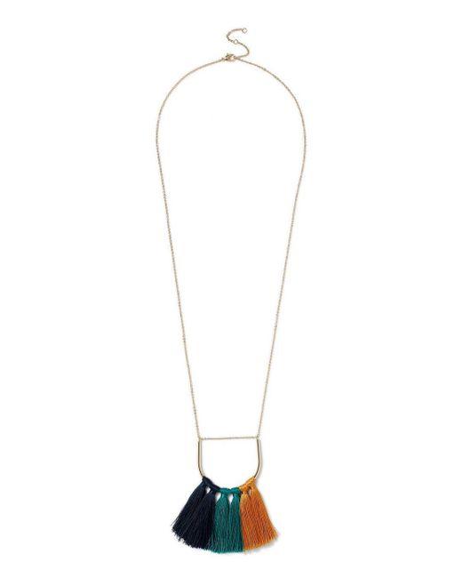 Miss Selfridge - Metallic Tonal Tassel Fan Pendant Necklace - Lyst
