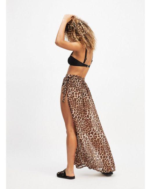f80cd250d7 Miss Selfridge Leopard Wrap Maxi Beach Skirt in Brown - Save 32% - Lyst