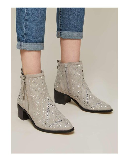 Miss Selfridge - Gray Dazzle Grey Studded Ankle Boots - Lyst