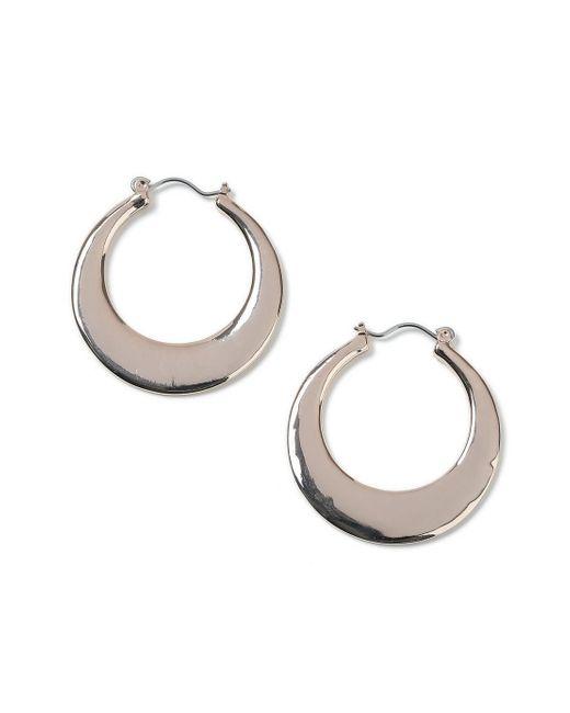 Miss Selfridge - Metallic Smooth Hoop Earrings - Lyst