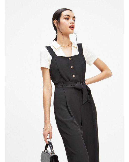 e40aaeef9ec Miss Selfridge - Black Button Through Pinafore Jumpsuit - Lyst ...