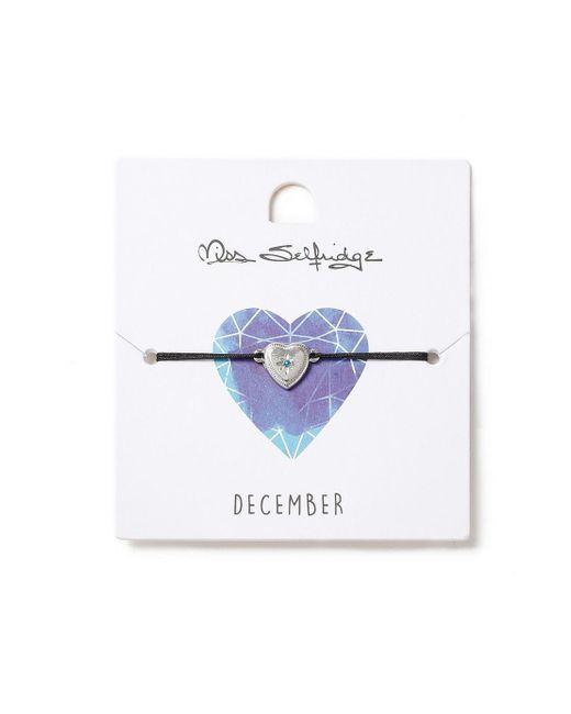 Miss Selfridge - Blue Heart Birthstone Bracelet - Lyst