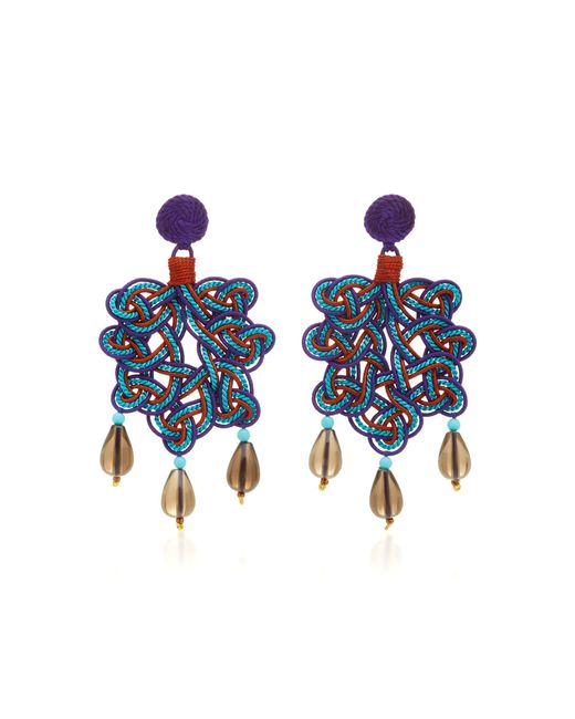 Anna E Alex - Purple Woven Multi-stone Silver-plating Earrings - Lyst