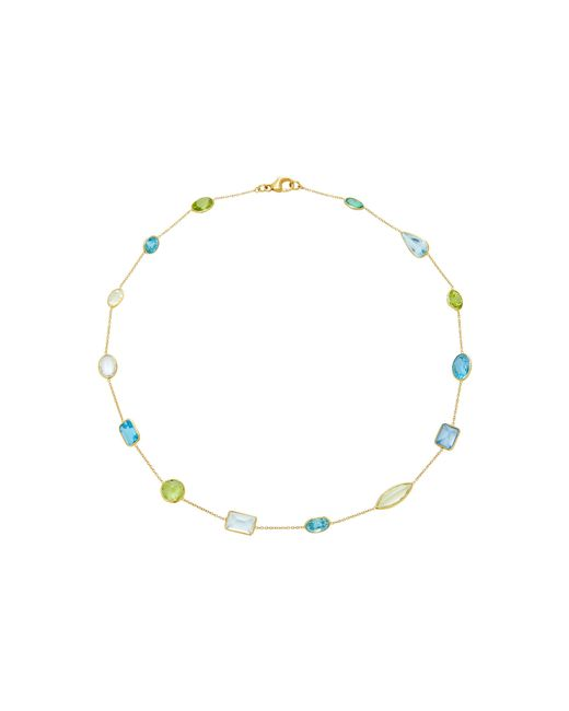 Renee Lewis | Metallic 18k Gold, Aqua-blue Topaz, Peridot, And Zircon Chain Necklace | Lyst