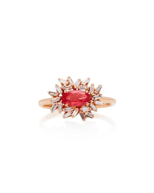 Suzanne Kalan - Red One-of-a-kind 18k Rose Gold Rhodonite And Diamond Ring - Lyst