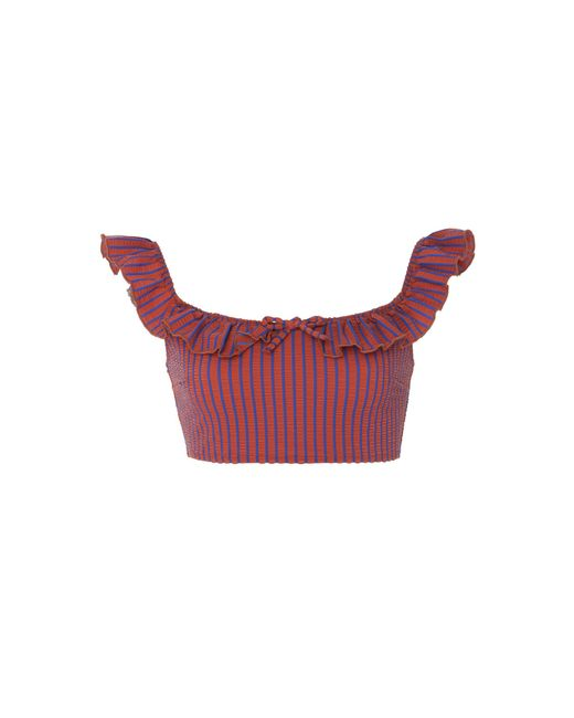 Solid & Striped - Red Paloma Ruffle Seersucker Bikini Top - Lyst