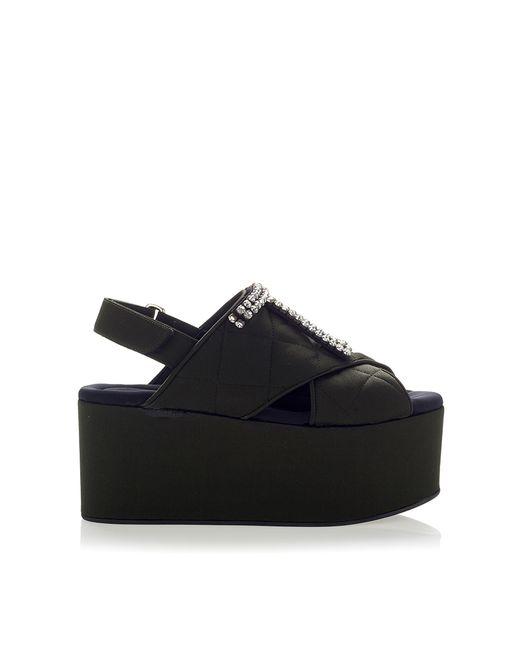 marni quilted crepe satin black wedge shoe in black lyst