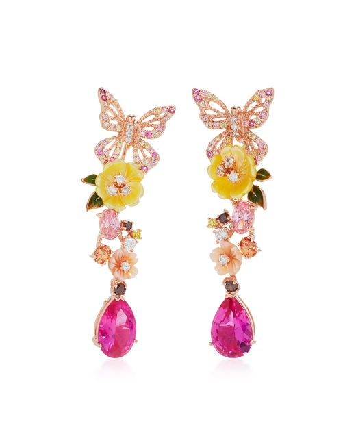 Anabela Chan - Pink Exclusive: Rose Vine Earrings - Lyst