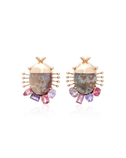 Daniela Villegas | Purple Careyes 18k Pink Gold, Sapphire And Ocean Jasper Earrings | Lyst