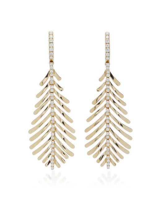 Sidney Garber - Metallic Plume 18k Gold And Diamond Drop Earrings - Lyst