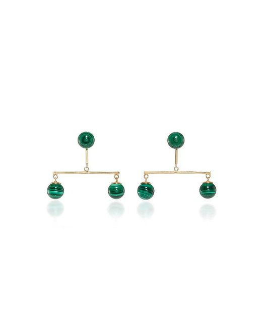 Mateo - Metallic 14k Yellow Gold Malachite Disk Earrings - Lyst