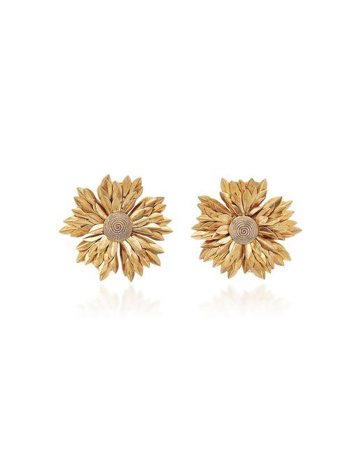 Rebecca de Ravenel - Metallic Metal Petal Flower Clip Earrings - Lyst