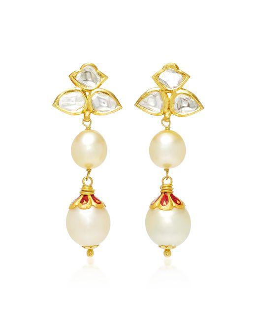 Sanjay Kasliwal - White 22k Gold, Diamond And Pearl Earrings - Lyst