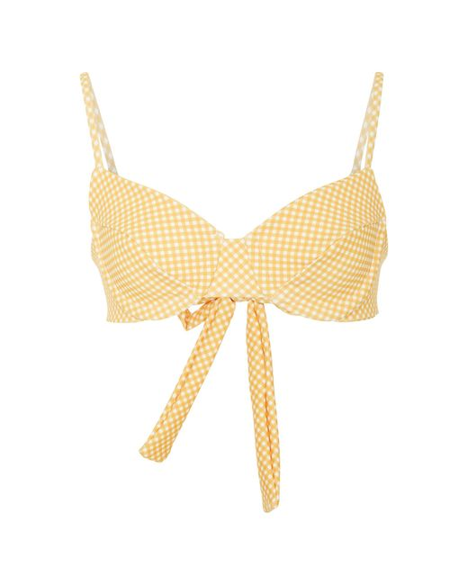 Camp Cove - Yellow Heidi Gingham Bikini Top - Lyst