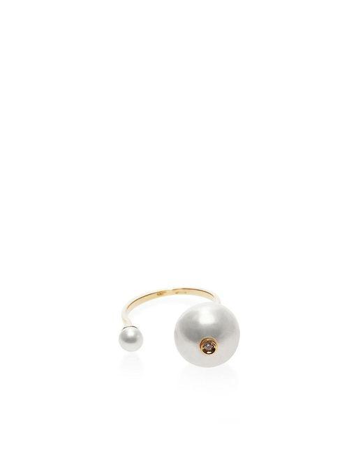 Delfina Delettrez | Metallic 18k Gold And Double Pearl Ring | Lyst