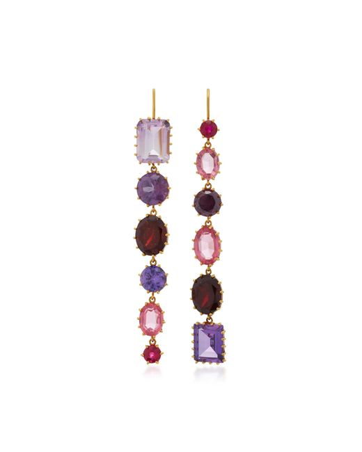 Renee Lewis | Pink 18k Gold Multi-stone Drop Earrings | Lyst