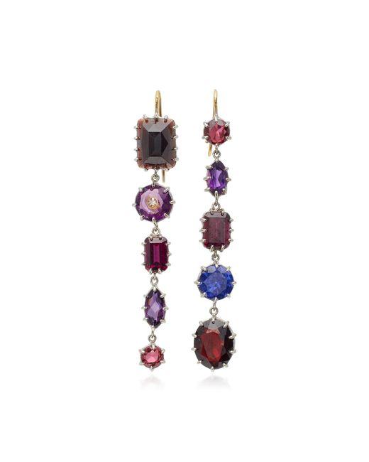 Renee Lewis - Purple 18k White Gold, Amethyst, Garnet, Diamond Earrings - Lyst