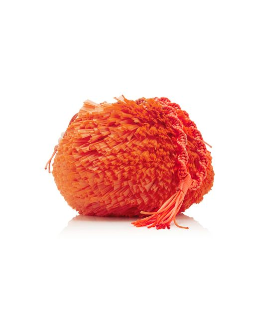 Carolina Santo Domingo   Orange Uni Embellished Raffia Bag   Lyst