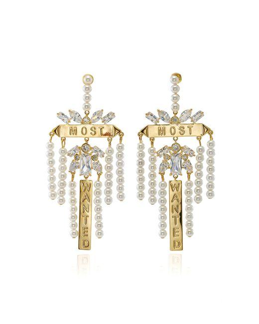 Fallon - Metallic Monarch Most Wanted Faux Pearl Earrings - Lyst