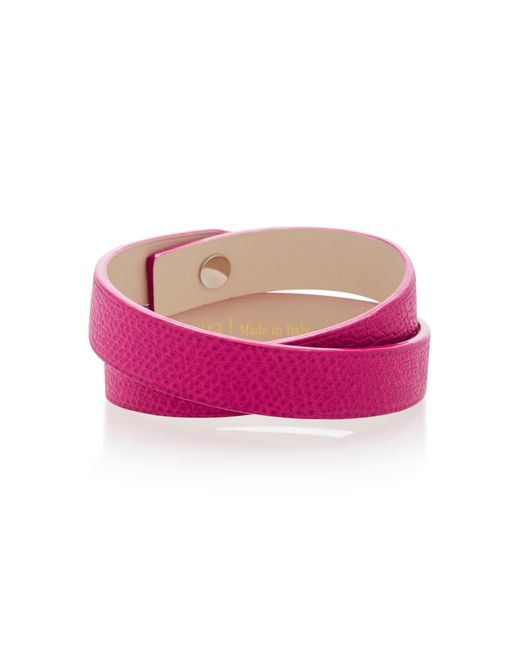 Valextra | Pink Double Wrap Leather Bracelet | Lyst