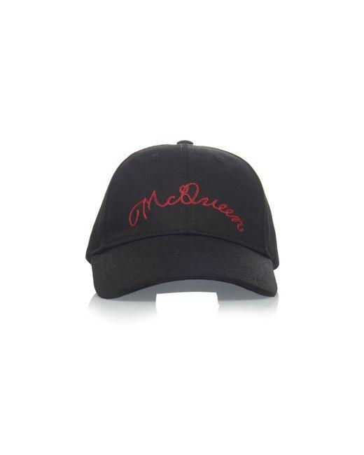382878f4431 Alexander McQueen - Black Logo-embroidered Cotton-twill Hat for Men - Lyst  ...