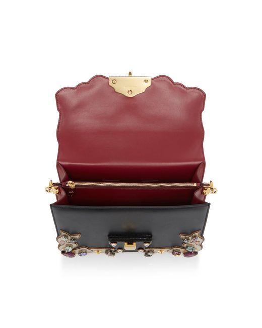 6a16d2f23976 ... Lyst Dolce   Gabbana - Black Embellished Lucia Leather Shoulder Bag ...