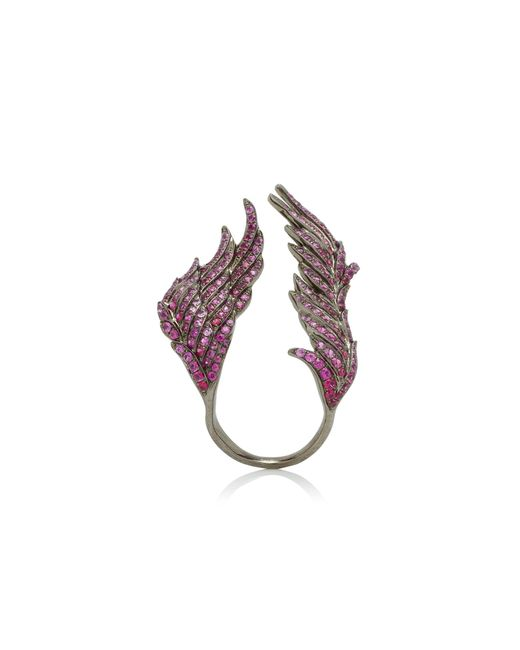 Wendy Yue - 18k White Gold, Pink Sapphire And Ruby Ring - Lyst