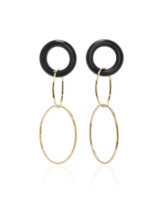 Mateo | White 14k Gold And Onyx Earrings | Lyst