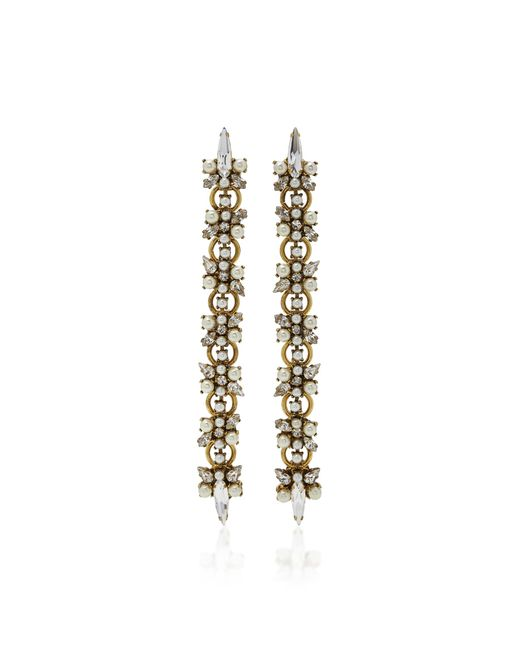 Erickson Beamon | Metallic Dancing Queen 24k Gold-plated Crystal And Pearl Earrings | Lyst