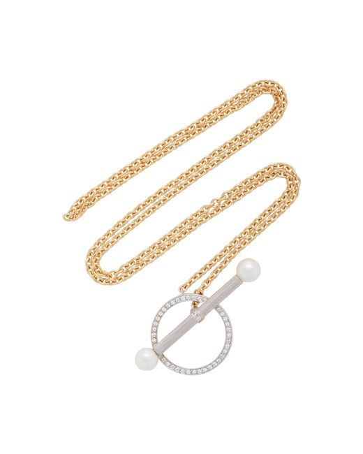 Yvonne Léon | Metallic Barre 18k Gold, Diamond And Pearl Necklace | Lyst