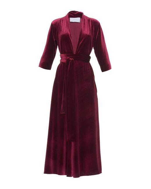 Luisa Beccaria | Red Velvet Three Quarter Sleeve Midi Dress | Lyst