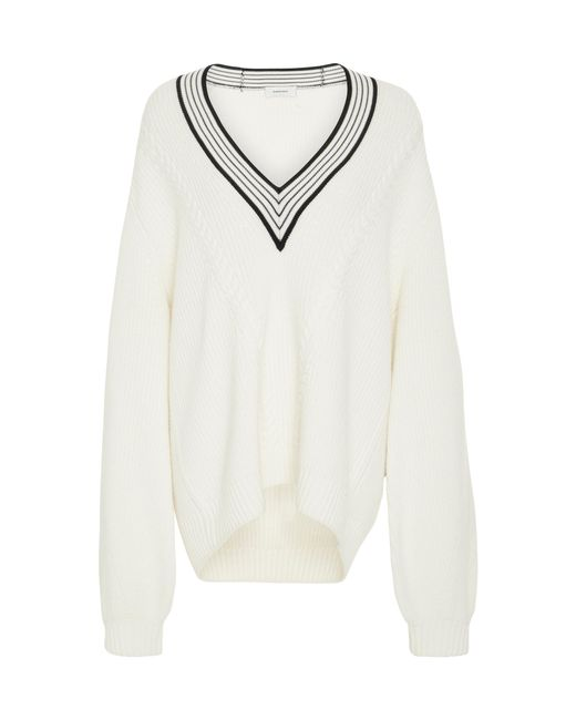 Carven | White V-neck Merino Wool Sweater | Lyst