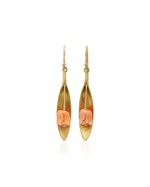 Annette Ferdinandsen | 18k Gold Pink Coral Tulip Earrings | Lyst