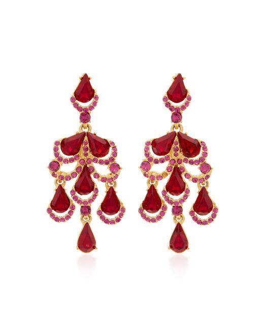 Oscar de la Renta   Red Baroque Gold-tone Crystal Earrings   Lyst