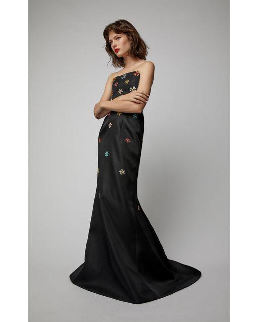 Carolina Herrera - Black Strapless Silk Gown - Lyst