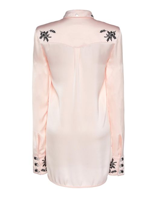 e1ca1601 ... Paco Rabanne - Pink Embroidered Satin Shirt - Lyst ...