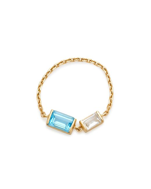 Yi Collection - Multicolor 18k Gold Topaz And Aquamarine Chain Ring - Lyst