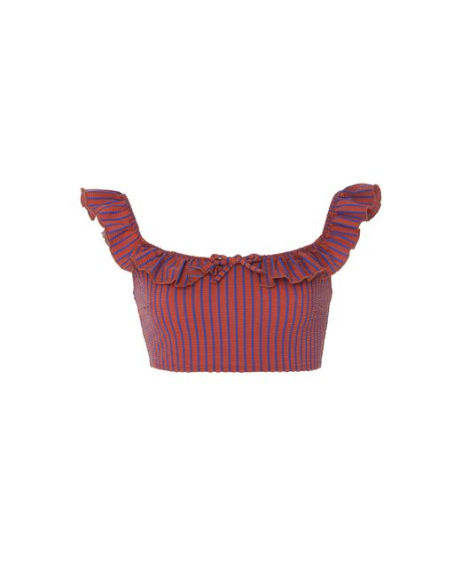 Solid & Striped - Red Paloma Ruffle Seersucker Bikini Top - Lyst