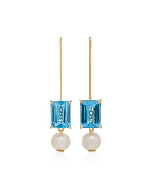 Yi Collection - 18k Gold Blue Topaz And Pearl Earrings - Lyst