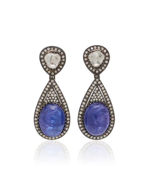 Amrapali - Blue 18k Gold Tanzanite And Diamond Earrings - Lyst