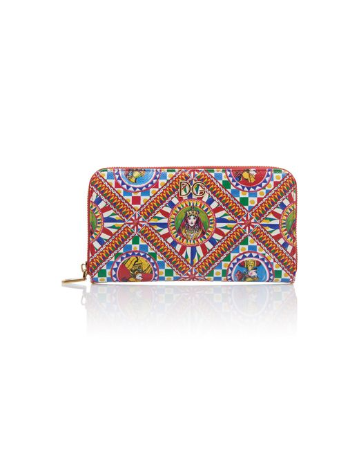 Dolce & Gabbana Multicolor Printed Leather Continental Zip Wallet