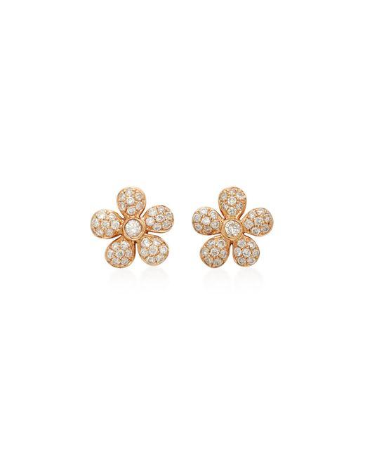 Colette   Pink Baby Flower 18k Rose Gold Diamond Earrings   Lyst