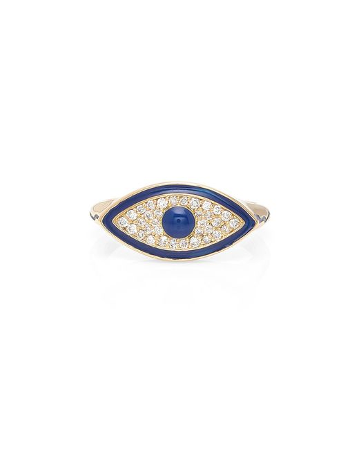 Misahara - Metallic Evil Eye 18k Gold Diamond Ring - Lyst
