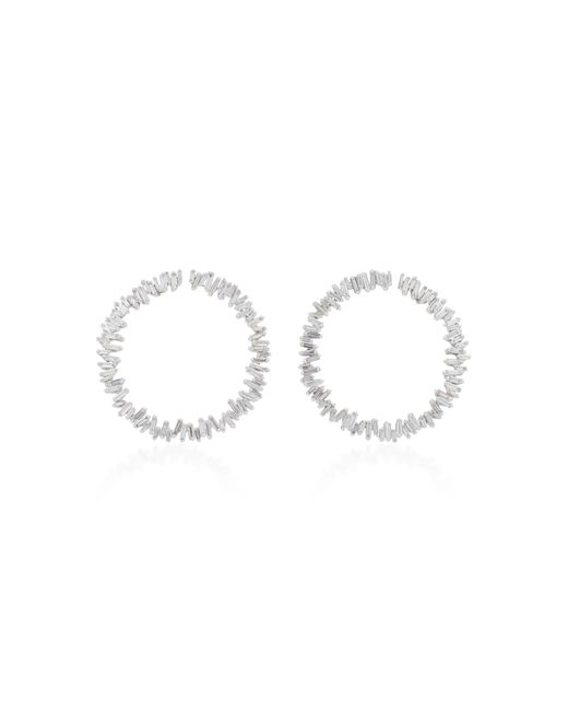 Suzanne Kalan - Spiral Circle 18k White Gold Diamond Earrings - Lyst