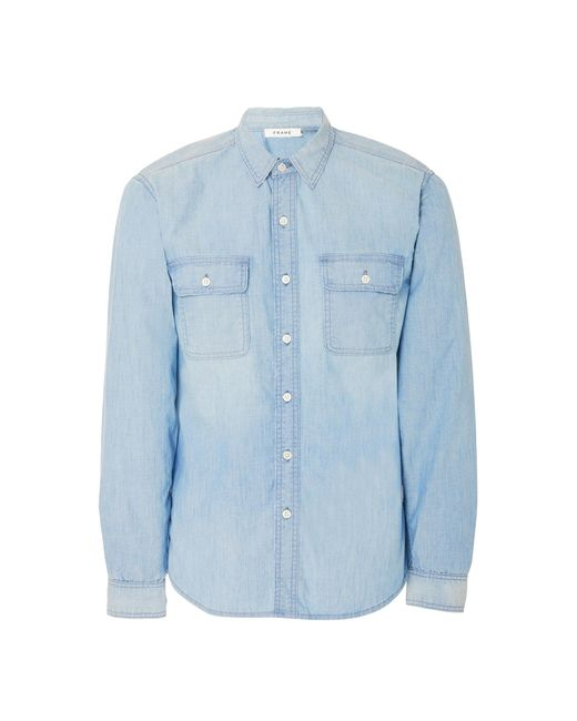 FRAME - Blue Faded Chambray Shirt for Men - Lyst
